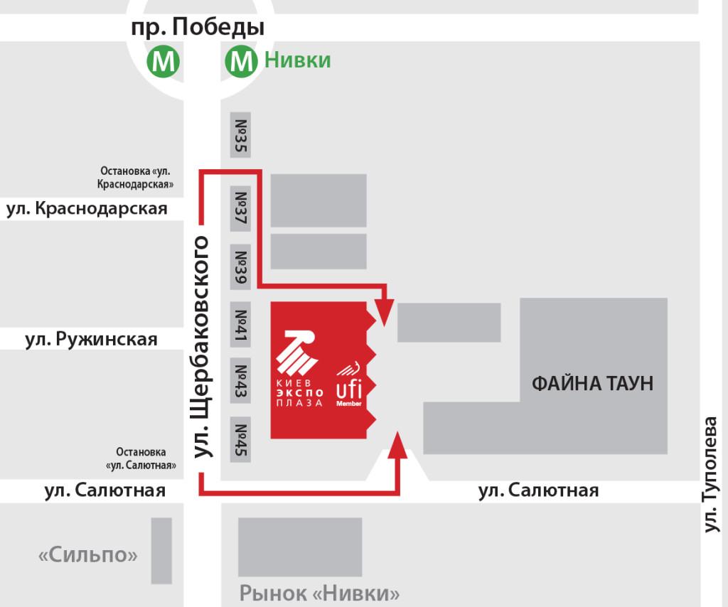 Схема проезда на Международную выставку PHARMATechExpo 2018