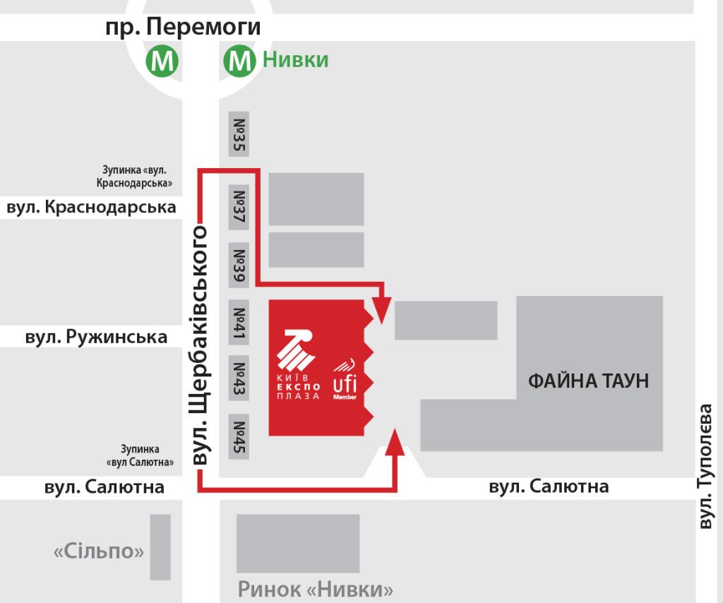 Схема проїзду на Міжнародну виставку PHARMATechExpo 2018